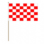 Red and White Checkered Hand Flag - Large